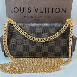 LOUIS VUITTON Damier Ebene Wallet on Draped Chain